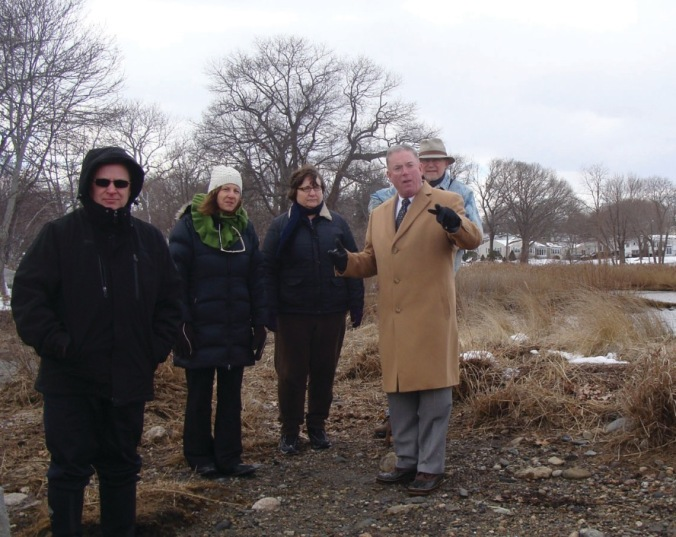 Rep. McNamara met with DEM and FoSG members to discuss restoration of the Salter Grove bridge(s). (Warwick Beacon photo)