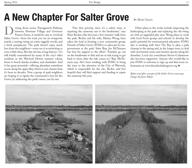 Mary Grady's article about Friends of Salter Grove in the Spring 2016 issue of The Bridge