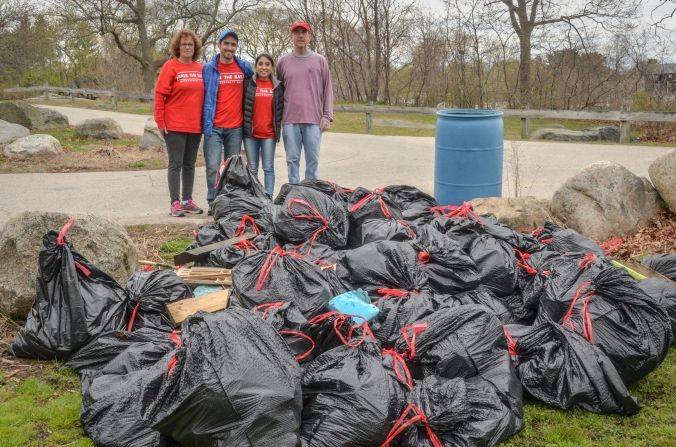 693 pounds of trash were removed from the shore and park areas of the Grove on April 23!